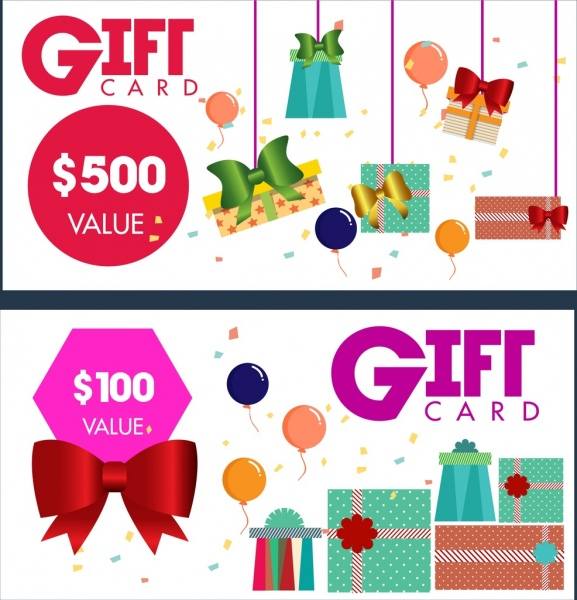 Gift Card Templates Present Box Bows Icons Decoration Free Vector In