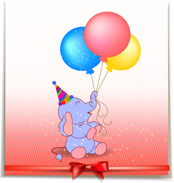Gift Decor With Cartoon Elephant And Balloon Free Vector In Adobe