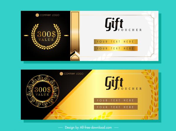 gift voucher template elegant luxury golden black decor