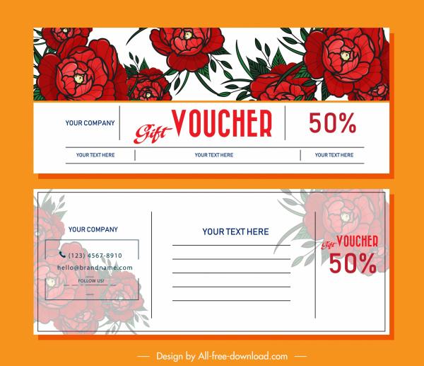gift voucher template red rose decor blurred design