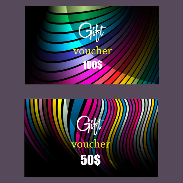 gift voucher template with colorful abstract swirl pattern