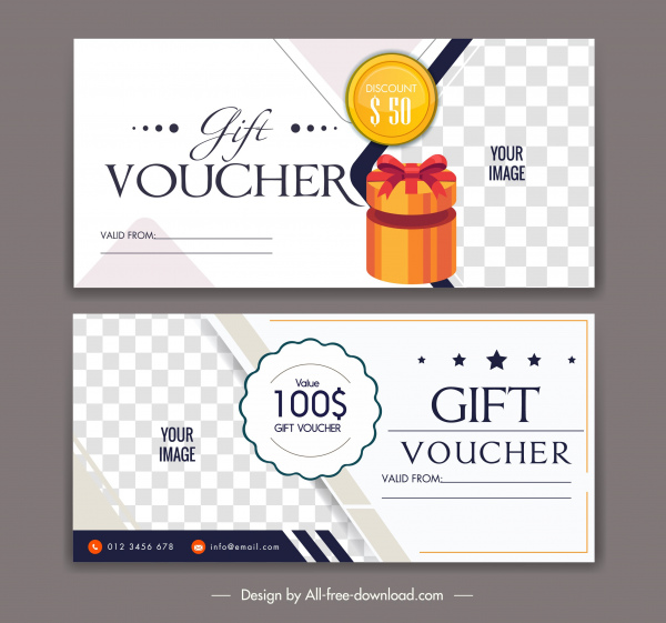 gift voucher templates elegant checkered present box decor