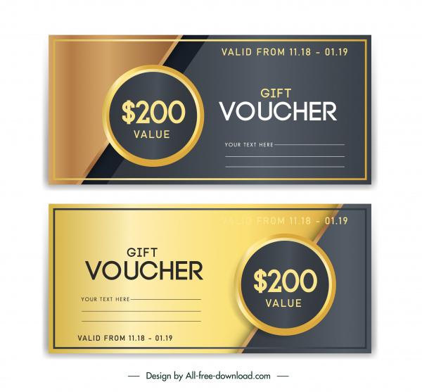 gift voucher templates luxury golden black decor