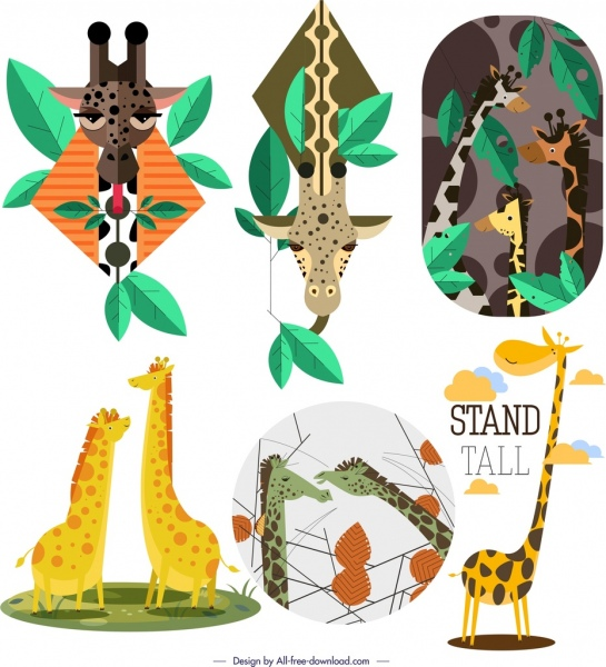 giraffe background templates cute cartoon characters free vector in