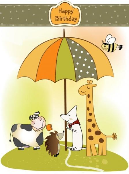 giraffe greeting card 02 vector