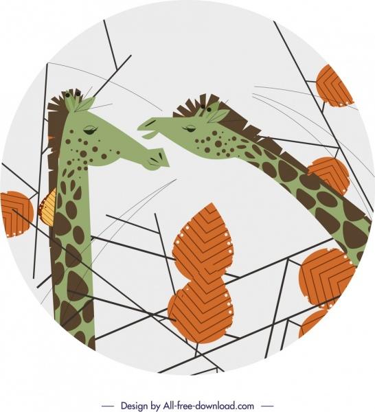 giraffe wild animals background classical cartoon design
