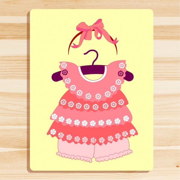 girl clothes design pink floral bow decoration