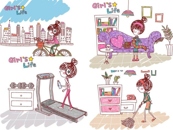 girl life vector eps girl life7