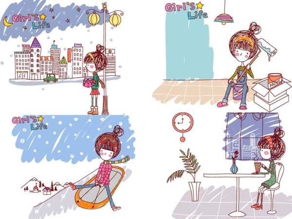 girl life vector eps girl life9