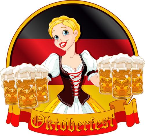 girl with beer oktoberfest vector