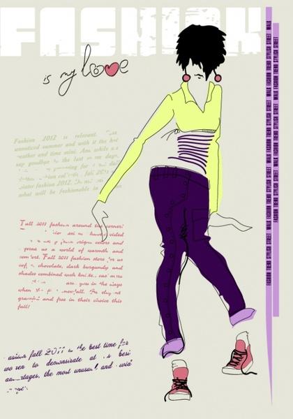 girls fashion illustrator 03 vector