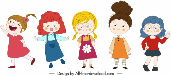 girls icons cute kids sketch cartoon characters