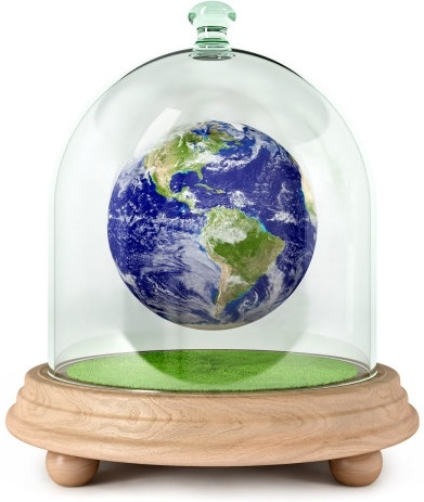 glass in the earth