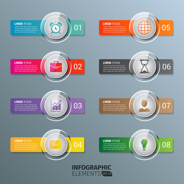 glass infographics buttons template