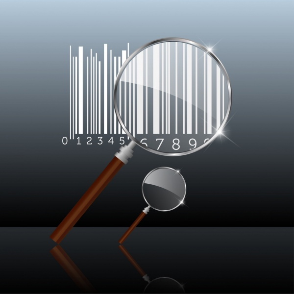 glass magnifier sets bar codes shiny metallic icons