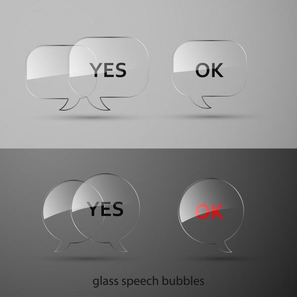 approval button templates modern transparent glass speech bubbles