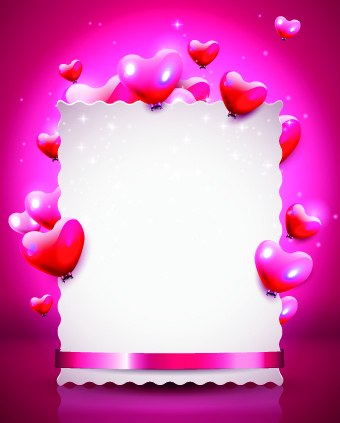 glass texture heart with paper valentines day background