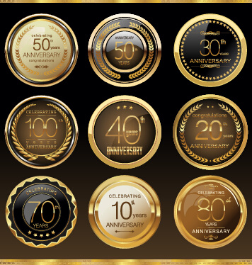 glass textured badges anniversary vector