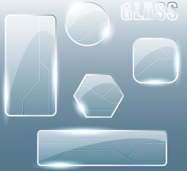 glass surface icons shiny geometric shapes