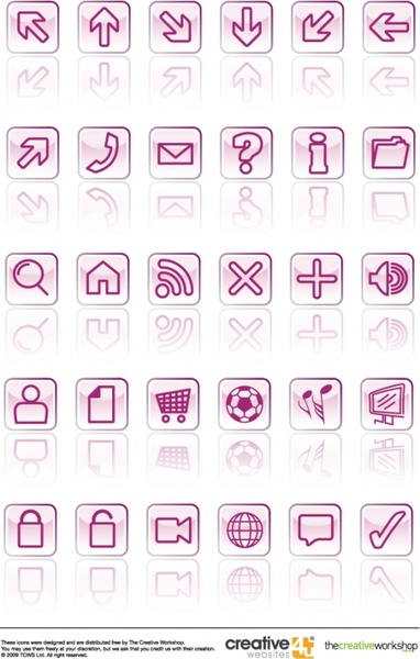 user interface vector icons illustration with glassy squares