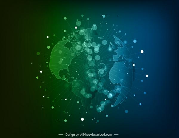 globe background modern dynamic bursting 3d sketch