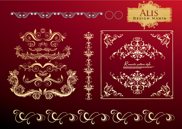gloden floral decor elements vector