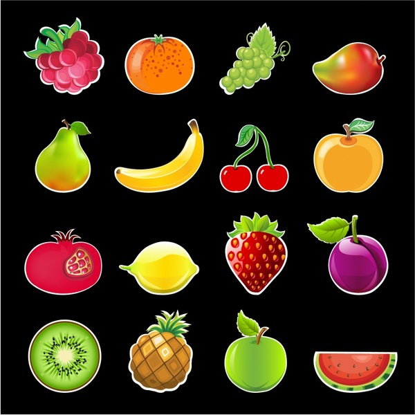 Glossy Fruits Icon Set