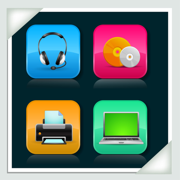 glossy media icons set