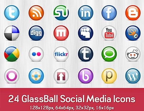Glossy Social Media icons Free PSD