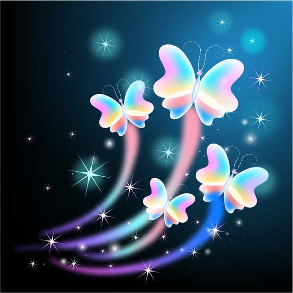 Glowing butterflies with sparkle stars