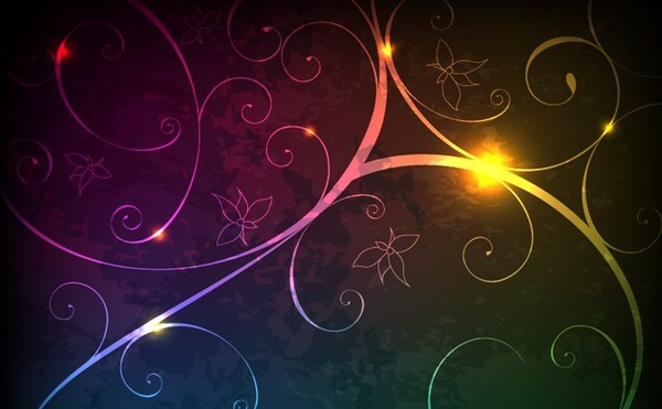sparkling floral background classical curves ornament