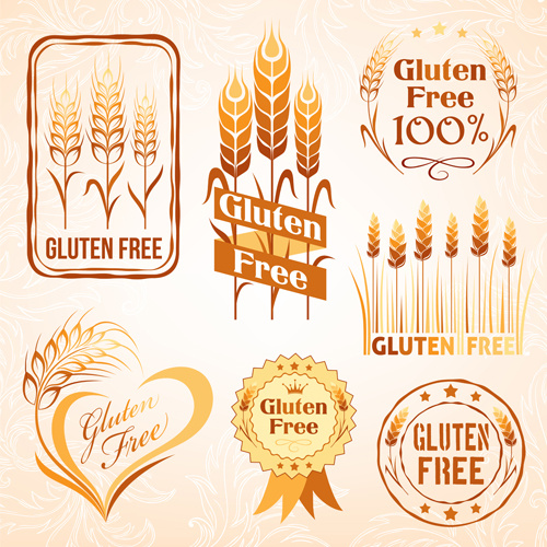 Gluten free logos with labels vector Free vector in