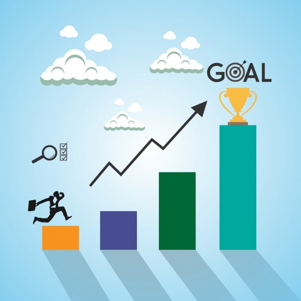 goal concept background businessman bar chart cup icons