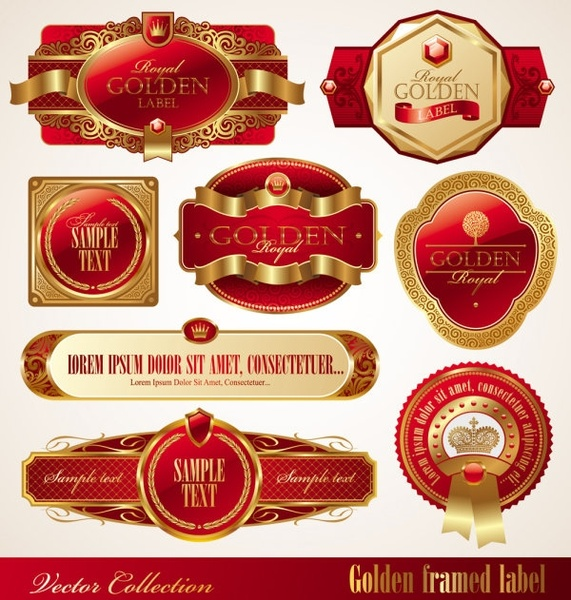 gold box red label vector