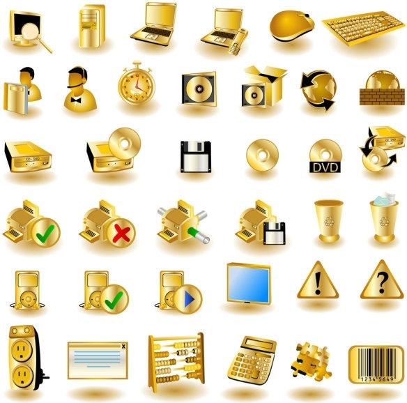 gold common computer icon 01 vector