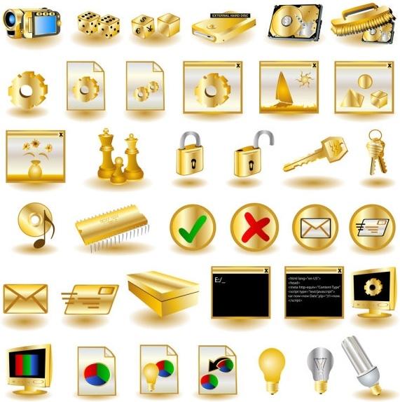 gold common computer icon 02 vector