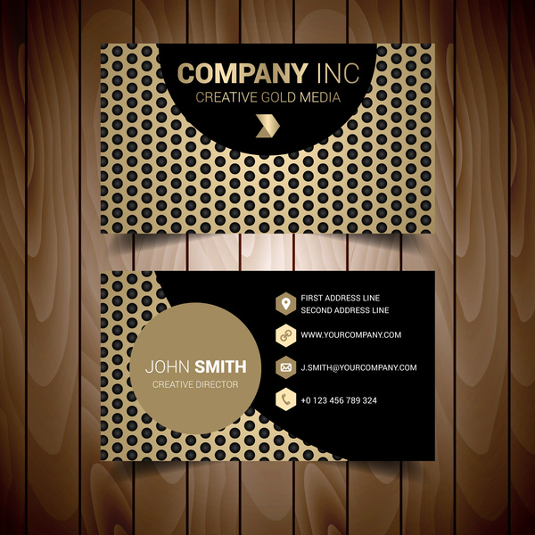 Gold dotted modern business card free vector in adobe illustrator ai gold dotted modern business card cheaphphosting Choice Image