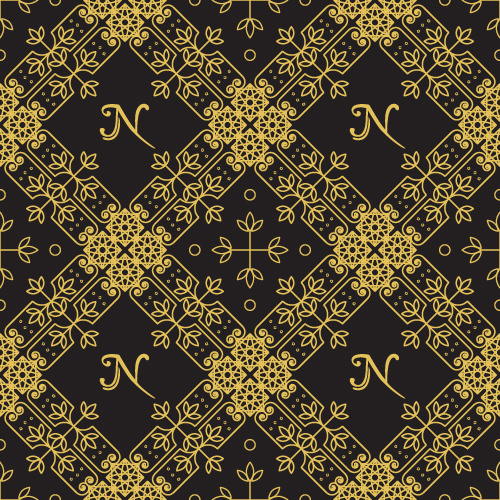 Gold lineart seamless pattern luxury vector Free vector in
