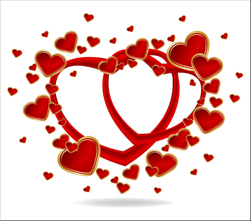 gold romantic love hearts vector art