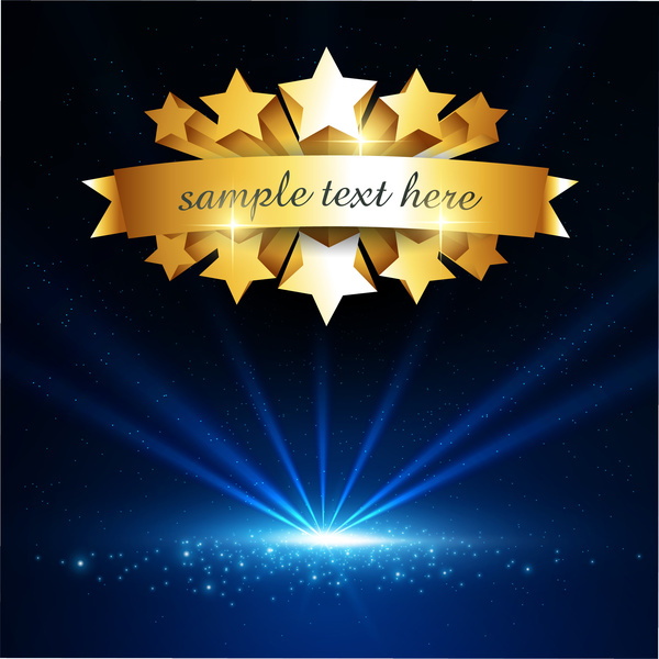 gold star and blue light background free vector in adobe illustrator