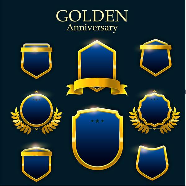 golden badge and frame set