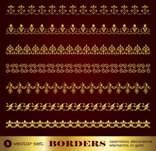 golden border and corner decorative elements vector