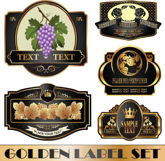 golden bottle of wine labels vector