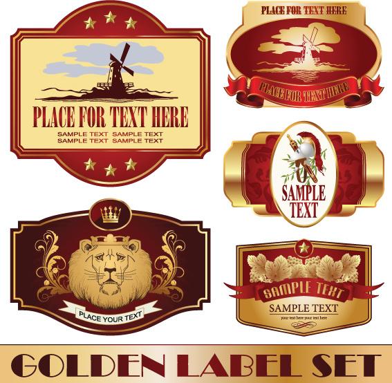 Golden bottle of wine labels vector Free vector in ...