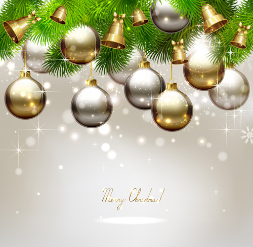 golden christmas ball with bell background vectors