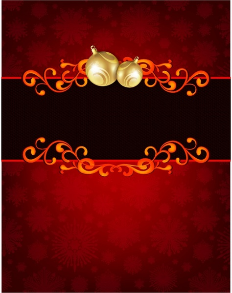 Golden Christmas Ornament on red Holiday Card Background