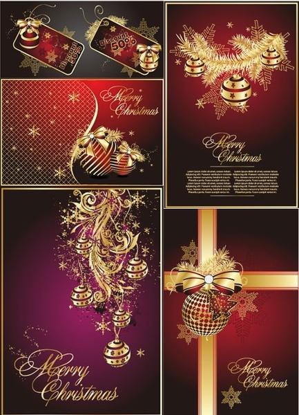 golden christmas theme vector