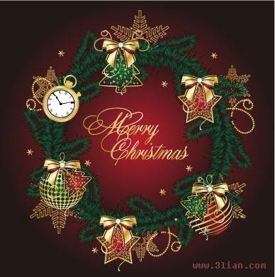 christmas banner modern colorful wreath baubles decor