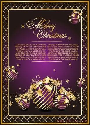 christmas banner violet golden bauble decor elegant design