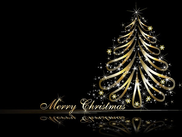Golden Christmas Tree Vector Free Vector In Encapsulated Postscript